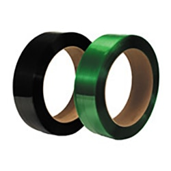 """Smooth Polyester Strapping, 1/2"""" Wide x .020 Gauge, 3,600', 16"""" x 3"""" Core, 600 Lb. Break Strength, Black"""