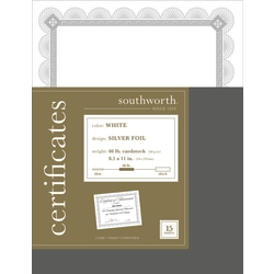 """Southworth® Premium-Weight Foil Certificates, 8 1/2"""" x 11"""", White/Silver Foil Spiro, Pack Of 15"""