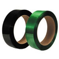 "Smooth Polyester Strapping, 5/8"" Wide x .025 Gauge, 2,200', 16"" x 3"" Core, 900 Lb. Break Strength, Black"