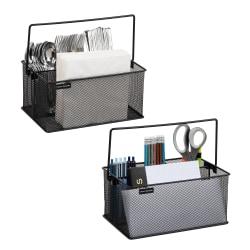 """Mind Reader Storage Basket Utensil Organizers, 4 1/2""""H x 9 1/2""""W x 6 3/8""""D, Black, Pack Of 2"""