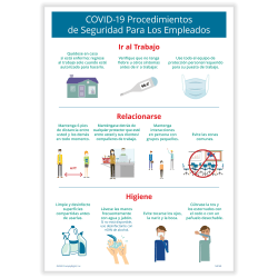 """ComplyRight™ Corona Virus and Health Safety Poster, Spanish, COVID-19 Employee Safety Procedures, 10"""" x 14"""""""