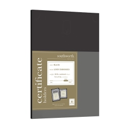 """Southworth® Certificate Holders, 9 1/2"""" x 12"""", Black, Pack Of 10"""