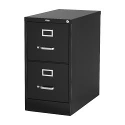"Lorell® Fortress 22""D Vertical 2-Drawer Letter-Size File Cabinet, Metal, Black"