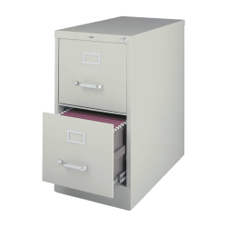 """Lorell® Fortress 22""""D Vertical 2-Drawer Letter-Size File Cabinet, Metal, Light Gray"""