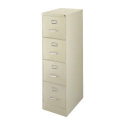 """Lorell® Fortress 22""""D Vertical 4-Drawer Letter-Size File Cabinet, Metal, Putty"""