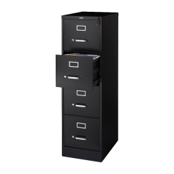 "Lorell® Fortress 22""D Vertical 4-Drawer Letter-Size File Cabinet, Metal, Black"
