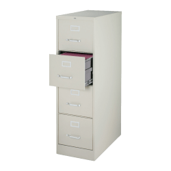 """Lorell® Fortress 22""""D Vertical 4-Drawer Letter-Size File Cabinet, Metal, Light Gray"""
