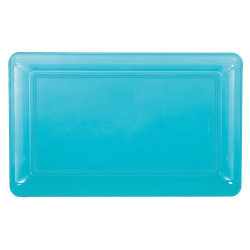 "Amscan Plastic Rectangular Trays, 9-1/4"" x 14-1/4"", Caribbean Blue, Pack Of 6 Trays"