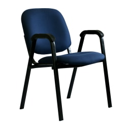 """Office-Stor PLUS Guest  With Arms Padded Fabric Seat, Fabric Back Stacking Chair, 19"""" Seat Width, Blue Maze Seat/Black Frame, Quantity: 1"""