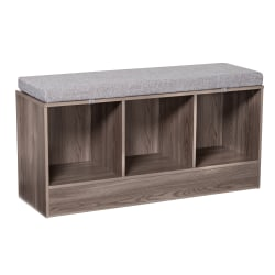 """Honey Can Do Entryway Bench With Storage Shelves, 22-1/8""""H x 44-1/8""""W x 14-9/16""""D, Farmhouse Gray"""