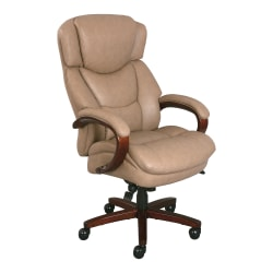 Thomasville® Hudson Big And Tall Bonded Leather High-Back Chair, Taupe/Walnut