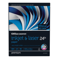"Office Depot® Brand Inkjet & Laser Paper, Letter Size (8 1/2"" x 11""), 24 Lb, 98 Bright, Ream Of 500 Sheets"