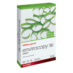"""Office Depot® Brand EnviroCopy® Paper, Legal Size (8 1/2"""" x 14""""), 20 Lb, 30% Recycled, FSC® Certified, White, Ream Of 500 Sheets"""