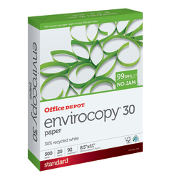 """Office Depot® EnviroCopy® Paper, Letter Size (8 1/2"""" x 11""""), 20 Lb, 30% Recycled, FSC® Certified, Ream Of 500 Sheets"""