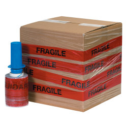 "GoodWrappers® Preprinted Identiwrap Stretch Film, ""Fragile,"" 80 Gauge, 5"" x 500', Pack Of 6"
