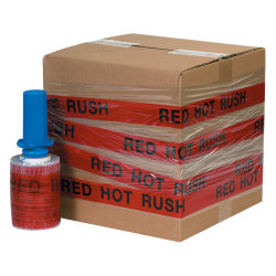 "GoodWrappers® Preprinted Identiwrap Stretch Film, ""Red Hot Rush,"" 80 Gauge, 5"" x 500', Pack Of 6"