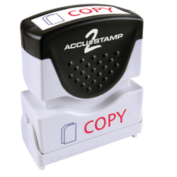 "ACCU-STAMP2® Copy Stamp, Shutter Pre-Inked Two-Color Copy Stamp, 1/2"" x 1-5/8"" Impression, Red/Black Ink"
