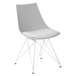 Ave Six Eiffel Bistro Chairs, Medium Gray/Chrome, Pack Of 2