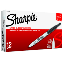Sharpie® Retractable Permanent Markers, Ultra-Fine Point, Black, Pack Of 12