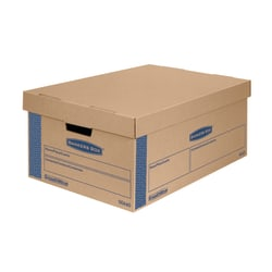 """Bankers Box® SmoothMove™ Prime Lift-Off Lid Moving Boxes, Large, 24"""" x 15"""" x 10"""", 85% Recycled, Kraft/Blue, Pack Of 8"""