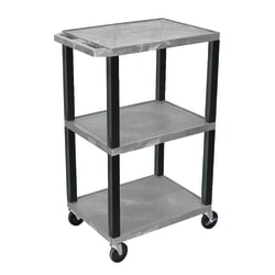 "H. Wilson Plastic Utility Cart With Electrical Assembly, 42 1/16""H x 24""W x 18""D, Gray/Black"