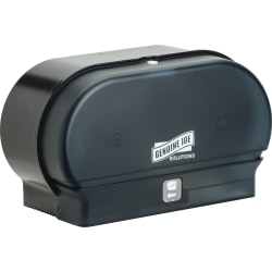 Genuine Joe Standard Bath Tissue Roll Dispenser - Manual - 2000 x Sheet, 2 x Roll - Black - Sliding Door