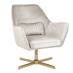 LumiSource Diana Contemporary Lounge Chair, Cream/Gold
