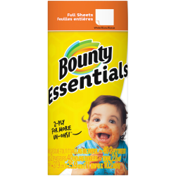"""Bounty Essentials 2-Ply Paper Towels, 11"""" x 10 1/4"""", White, 40 Sheets Per Roll, Carton Of 30 Rolls"""