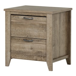 "South Shore Lionel 2-Drawer Nightstand, 23-1/4""H x 22-3/4""W x 18-1/4""D, Weathered Oak"