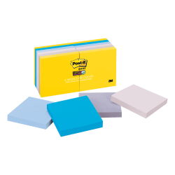 """Post-it® New York Collection Post-it Super Sticky Notes - 3"""" x 3"""" - Square - 90 Sheets per Pad - Unruled - Assorted - Self-adhesive, Self-stick - 12 / Pack"""