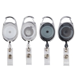 Office Depot® Brand Carabiner-Style ID Card Reels, Assorted Colors, Pack Of 4