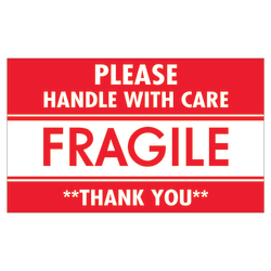 """Tape Logic® Preprinted Shipping Labels, SCL536, """"Please Handle With Care Fragile Thank You,"""" 3"""" x 5"""", Red/White, Pack Of 500"""