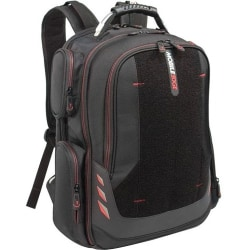 """Mobile Edge Core Carrying Case (Backpack) for 17.3"""" Notebook - Black, Red - Ballistic Nylon - Checkpoint Friendly - Shoulder Strap, Trolley Strap, Handle - 19.5"""" Height x 17"""" Width x 9"""" Depth"""