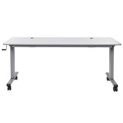 "Luxor Height-Adjustable Flip-Top Nesting Table, 45-1/4""H x 71""W x 23-5/8""D, Gray"