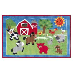 Flagship Carpets Cutie Barnyard Rug, Rectangle, 5' x 8', Multicolor