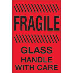 """Tape Logic® Preprinted Special Handling Labels, DL1188, Fragile ™ Glass ™ Handle With Care, Rectangle, 4"""" x 6"""", Fluorescent Red, Roll Of 500"""