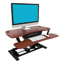 VersaDesk Power Pro Sit-To-Stand Height-Adjustable Electric Desk Riser, Cherry