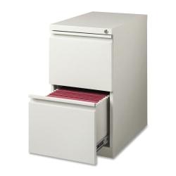 "Lorell® 22-7/8""D Vertical 2-Drawer Mobile Pedestal File Cabinet, Metal, Light Gray"