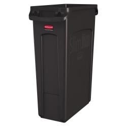 Rubbermaid® Slim Jim Rectangular Polyethylene Vented Waste Receptacle, 23 Gallons, Brown