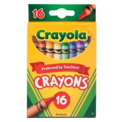 Crayola® Crayons, Peg Box, Assorted Colors, Box Of 16 Crayons