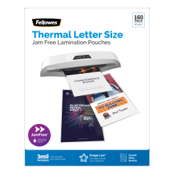 """Fellowes® ImageLast UV Thermal Laminating Pouches, Letter Size, 9"""" x 11-1/2"""", 3 Mil, Clear, Pack of 160 Pouches"""