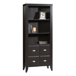 """Sauder® Shoal Creek 69"""" 4 Shelf Casual Library with 2 Doors, Brown/Dark Finish, Standard Delivery"""