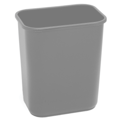 "Highmark™ Rectangular Plastic Wastebasket, 6.5 Gallons, 14-1/4""H x 10-1/8""W x 15""D, Gray"