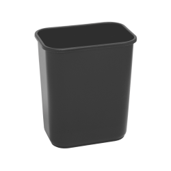 "Highmark™ Rectangular Plastic Wastebasket, 6.5 Gallons, 14-1/4""H x 10-1/8""W x 15""D, Black"