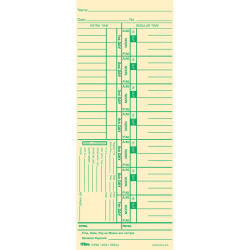 """TOPS Weekly Numbered Days Time Cards - 3 1/2"""" x 9"""" Sheet Size - Yellow - Manila Sheet(s) - Green Print Color - 100 / Pack"""