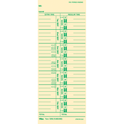 """TOPS Numbered Days Time Cards - 3 1/2"""" x 9"""" Sheet Size - Yellow - Manila Sheet(s) - Green Print Color - 100 / Pack"""