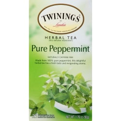 Twinings Caffeine-Free Pure Peppermint Herbal Tea, 2 Oz, Carton Of 25