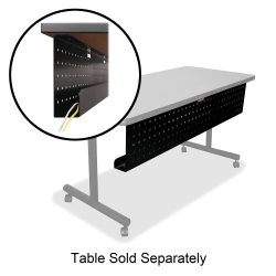 """Lorell® Rectangular Training Table Modesty Panel, For 72""""W Table, Black"""