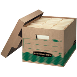 """Bankers Box® Stor/File™ Medium-Duty Storage Boxes With Lift-Off Lids, Letter/Legal Size, 10"""" x 12"""" x 15"""", 100% Recycled, Kraft/Green, Case Of 20"""