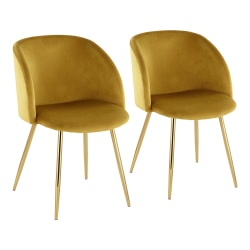 LumiSource Fran Dining Chairs, Chartreuse/Gold, Set Of 2 Chairs